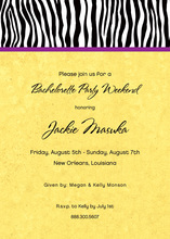 Sweet Wild Zebra Banded Yellow Invitations