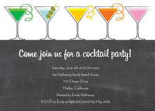 Chalkboard Five Martinis Invitation
