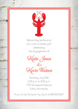 Wooden Birch Red Lobster Invitations