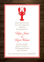 Wooden Red Lobster Invitations