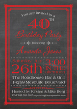 Red Deco Borders Chalkboard Birthday Invitations