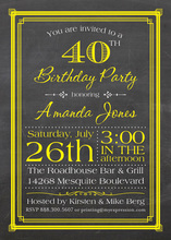 Yellow Deco Borders Chalkboard Birthday Invitations