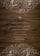 Wooden Filigree Religious Invitations