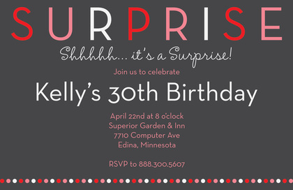 Surprise Birthday Party Dots Invitation