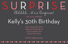 Surprise Birthday Party Pink Dots Invitation