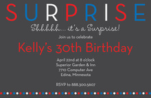 Surprise Birthday Party Red Dots Invitation