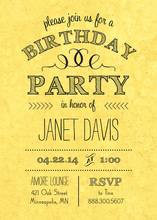Rustic Yellow Birthday Invitations