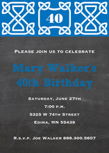 Blue Celtic Chalkboard Invitations