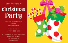 Festive Stocking Polka Dots Invitations