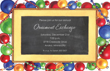 Trendy Ornaments Chalkboard Invitations