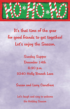 Ho Ho Ho Candy Cane Christmas Invitation