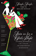 Silhouette Girl Martini Christmas Invitations