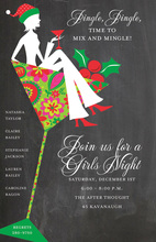 Silhouette Girl Martini Holiday Invitations