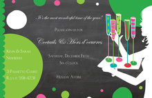 Silhouette Cocktail Drinks Holiday Invitations