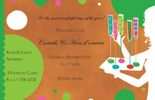 Silhouette Polka Dots Drinks Invitations