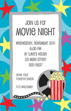 Popcorn Movies Star Party Invitations