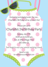 Polka Dots Swimsuit Sunglasses Invitation