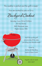 Red Barbecue Grill On Blue Plaid Invitations