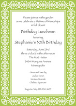 Modern Lime Damask Border Invitations