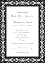 Elegant Black Damask Border Invitations
