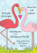 Two Lovely Flamingo Bird Couple Shower Invitations