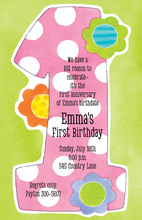 Pink 1st Polka Dots Invitations