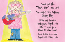 Girl Playing Guitar Invitation
