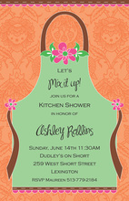 Green Apron on Coral Invitations