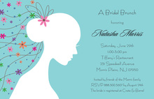 Romantique Bride Blue Shower Invitations