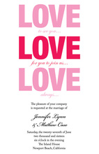 Love Love Love Bridal Shower Invitations
