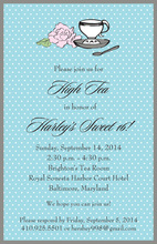 Tea Cup Pink Peony Blue Invitations