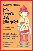 Cute Fireman Birthday Boy Invitation