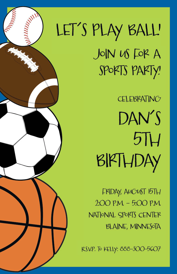 Sports Madness Party Invitations