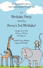 Popular Safari Animals Invitation