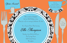 Tea Placesetting Damask Style Invitations