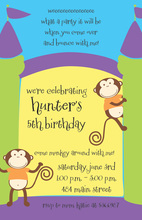 Two Monkeys In Bounce House Invitations