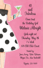 Martinis More Drink Polka Dots Invitation
