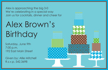 Whimsy Blue Cakes Birthday Invitations