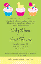 Three Baby Cupcakes Invitation