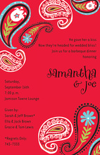 Bright Contrast Posh Red Paisley Invitations