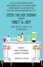 Modern Posh Bar Blue Shower Invitations
