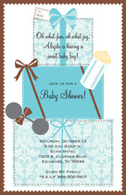 Gifts Stack Baby Boy Invitations