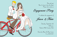 Cute Bride Ride Bycicle. Invitation