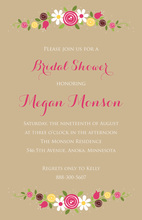 Whimsical Blooming Love Tan Wedding Invitations
