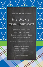 Golf Mix Plaid Chalkboard Invitation