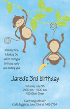 Two Little Monkeys Invitation