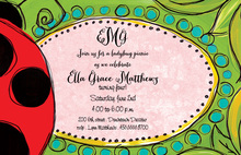 Ladybug Pink Girly Invitations