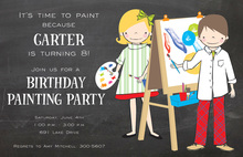 Art Painting Chalkboard Invitations