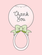 Pink Rattle Thank You Cards