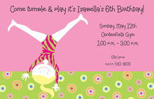 Happy Up Side Down Gymnastic Invitations